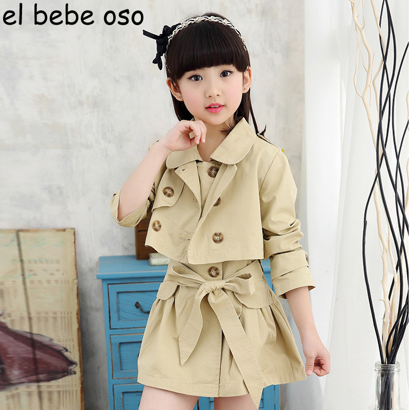 Girls Clothing Sets New Spring Fashion Style Trench Coat +Dress Turn-down Collar Double Breasted 2Pcs Girls Clothes Sets XL115 spring new 2017 girls clothing sets