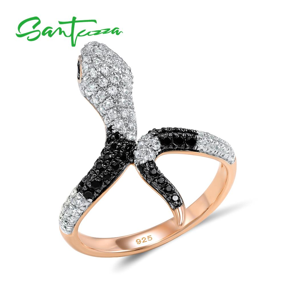 SANTUZZA Bague En Argent Pour Femmes 925 Sterling Silver Anneaux De Mode pour les Femmes Or Rose Couleur Cubique Zircone Ringen Partie Bijoux