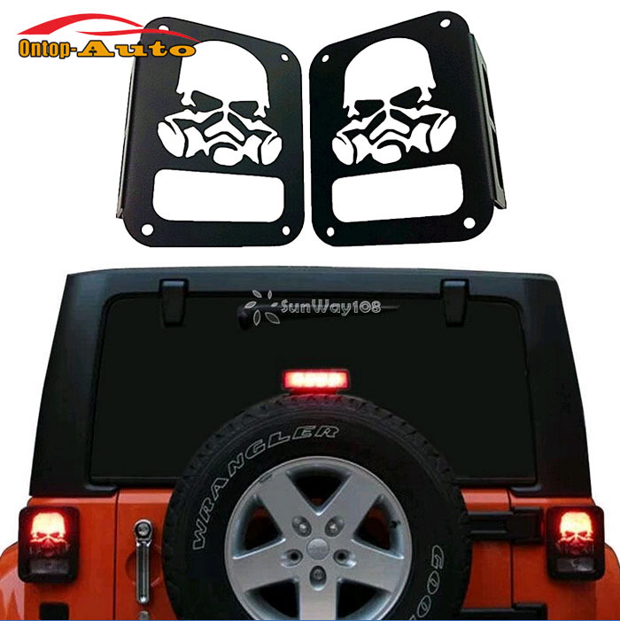 Decorative 2x Metal Rubicon Sahara Skull Taillight Real Light Cover Lamp  For Jeep Wrangler Jk 2007 2015 In Lamp Hoods From Automobiles U0026 Motorcycles  On ...