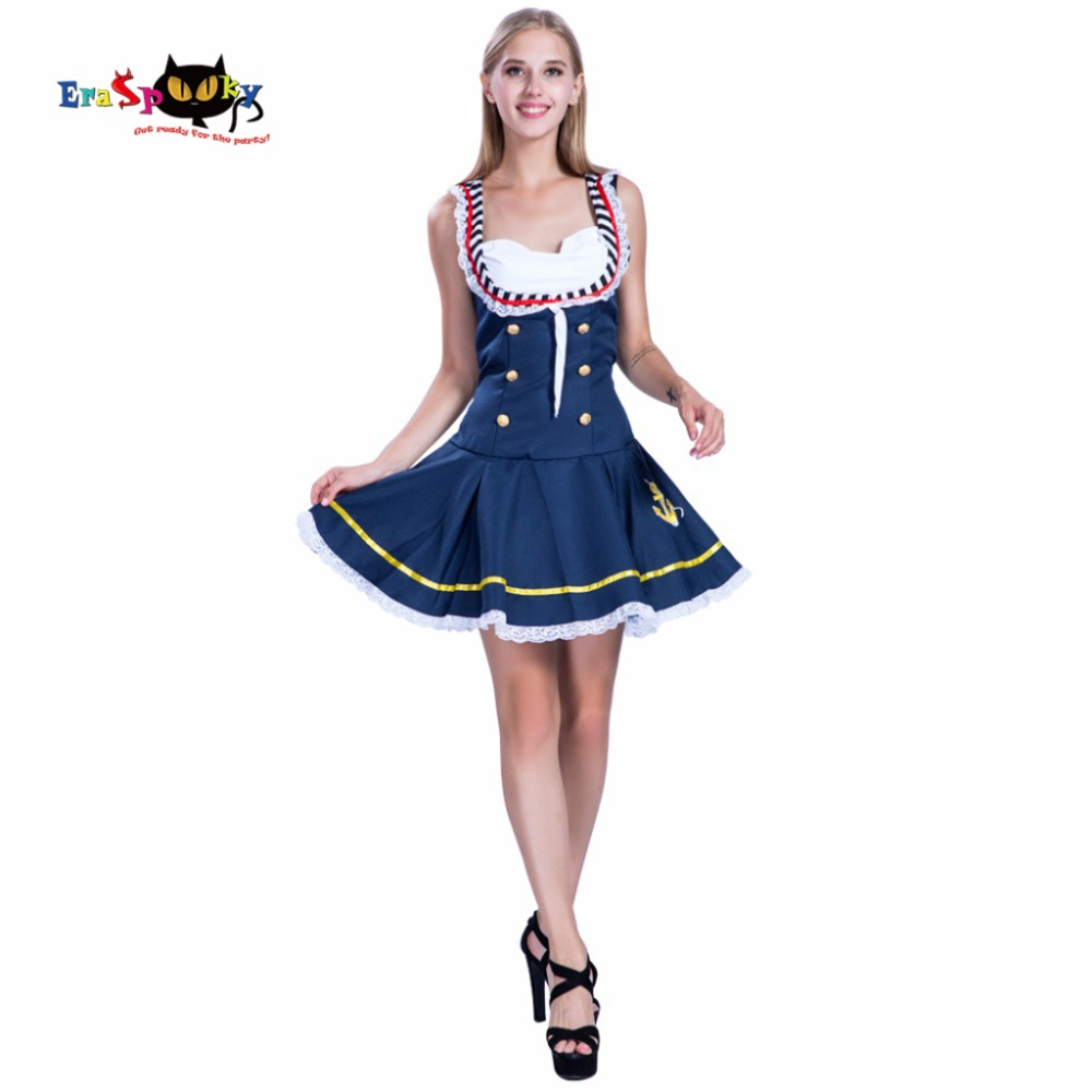 2017 New Arrival Women Navy Sailor Christmas Cosplay Female Captain Adult Halloween Costume Sleeveless Blue Fancy Dress