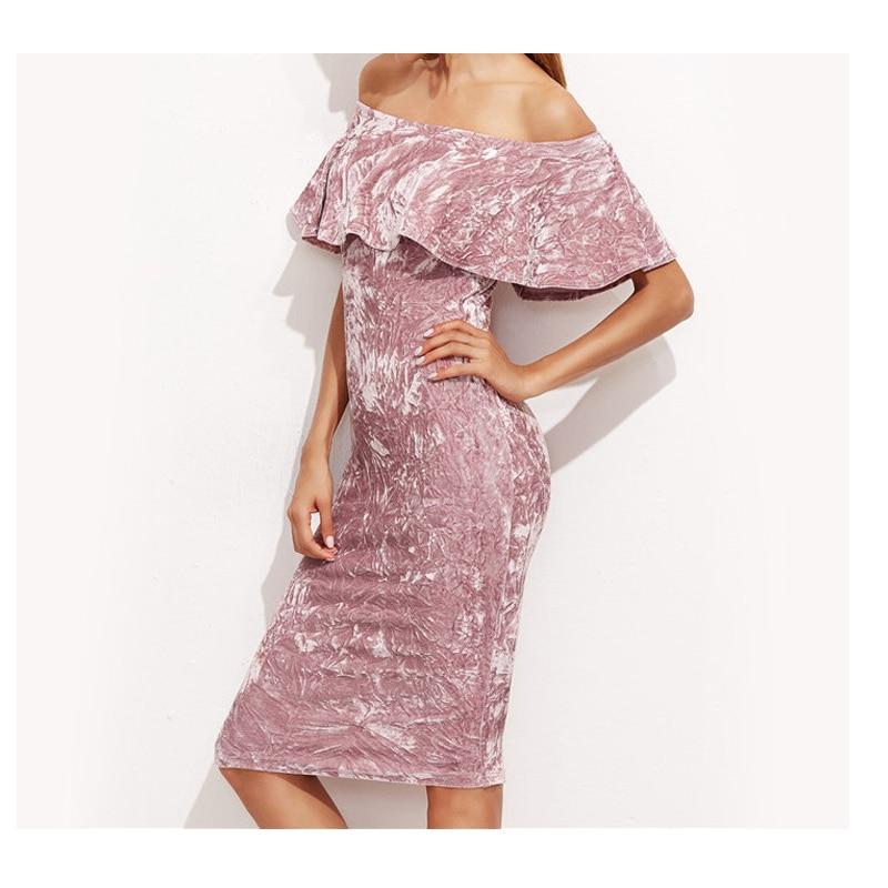 2017 Sexy Frauen Pink Velvet Etuikleid Damen Knielang Elegante - Damenbekleidung - Foto 3