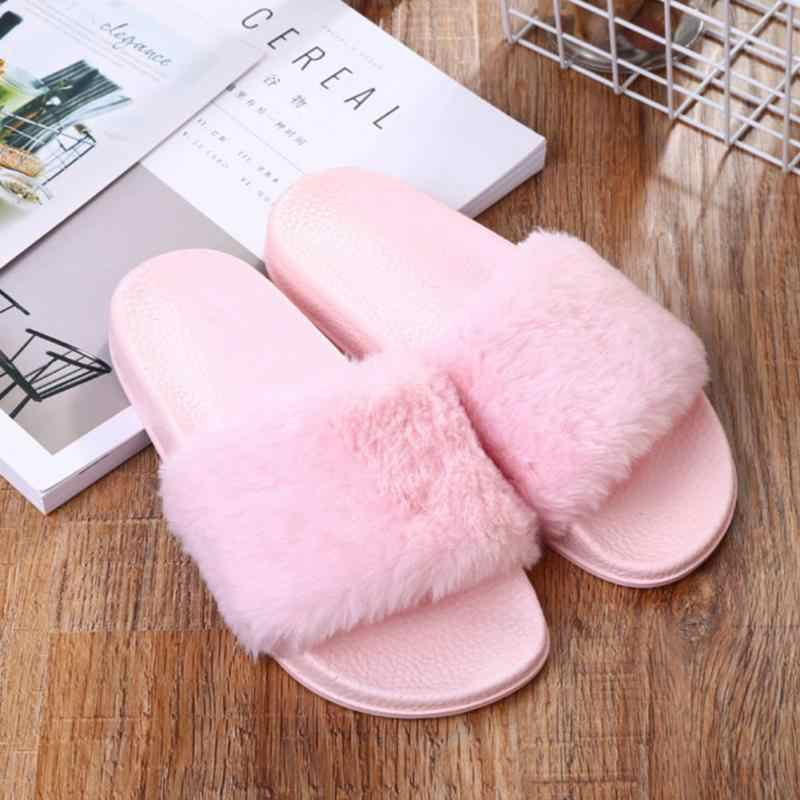 e203c844104c Detail Feedback Questions about Autumn Flat Plush Slippers Women Shoes Home  Indoor Slippers Fluffy Faux Fur Slides Ladies Non slip Mules Pink Gray  Black ...
