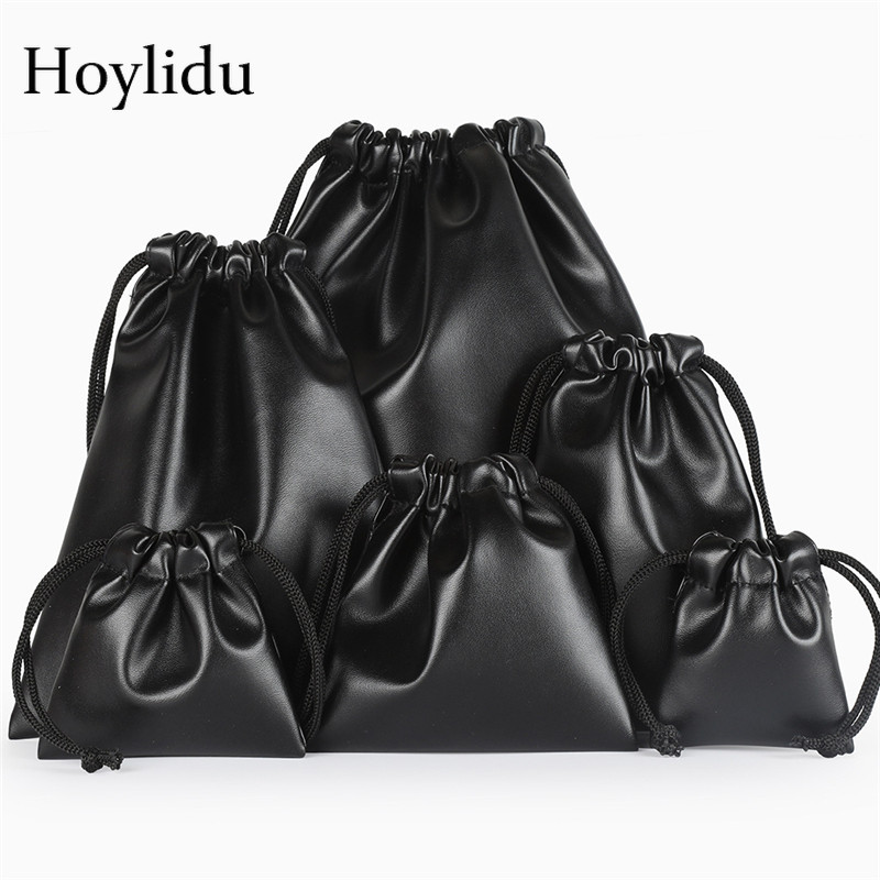 10 Pcs/Lot High Quality Custom Logo Bag PU Leather Drawstring Bags Headset Data Cable Waterproof Storage String Bag Gifts Pouch