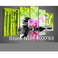 bamboo flower Huge 5 Panels Handmade feng shui Oil Painting on Canvas Wall Art Home Decoration