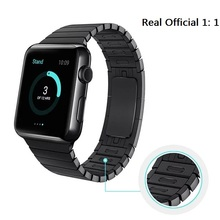 Más nuevo 100% original de acero inoxidable para apple watch band enlace Correa de pulsera de 1:1 para iWatch Brazalete de Eslabones de 42 MM 38 MM Negro plata