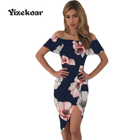 Yizekoar New Collection Summer Club Dress For Women Floral Print Ruffle Off Shoulder Strapless Wrap Boho