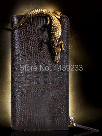 Free Shipping 100% Genuine Crocodile Leather and Alligator Skin Wallets for Men with Zipper Closure stylish women s tote bag with clip closure and crocodile print design