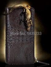 Бесплатная Доставка 100% Натуральная Кожа Крокодила и Аллигатора Кожи Кошельки для Мужчин с Застежкой-молнией