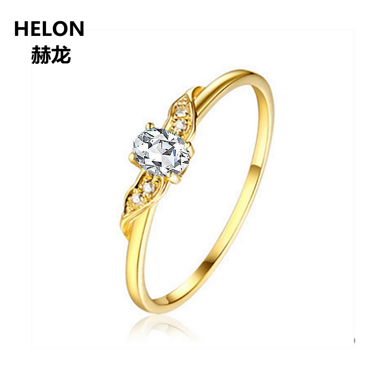 Solid 14k Yellow Gold Engagement Wedding Ring for Women 3x4m Oval Cut AAA Graded Cubic Zirconia CZ Ring Fine Jewelry Classic helon cubic zirconia cz solid 10k yellow gold pave prongs setting wedding ring engagement rings for women