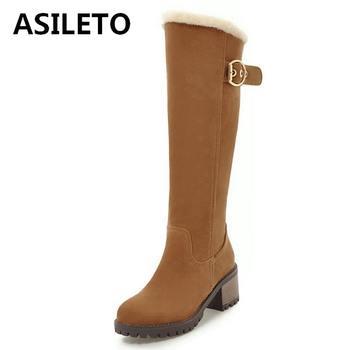 c93af9e36 ASILETO botas mujer botas para la nieve de la cremallera de piel de gamuza  de cuero de las mujeres zapatos de invierno zapatos tacones gruesos botines  botas ...