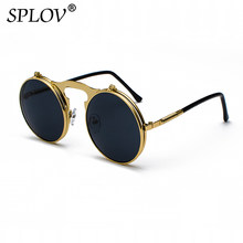 79e37fcc6aa9ca SPLOV Vintage Steampunk Flip Zonnebril Retro Ronde Metalen Frame Zonnebril  voor Mannen Vrouwen Merk Designer Cirkel Bril Oculos