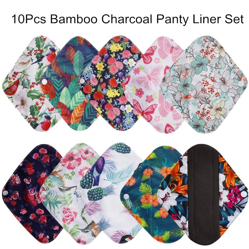 [simfamily] 10Pcs Reusable Pads Bamboo Charcoal Pads Sanitary Pads Washable Panty Liner Mama Maternity Menstrual Cotton Pads
