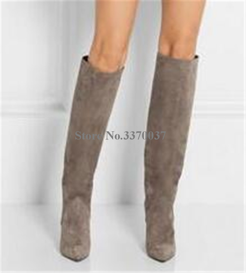 Frauen Mode Design Spitz Wildleder Leder Knie Hohe Keil Stiefel Winter Charming Super High Heel Keil Lange Stiefel - 3