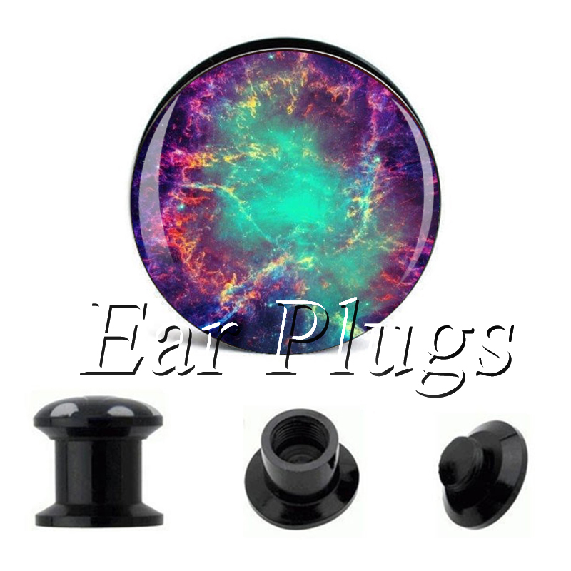 Wholesale Green Purple Galaxy plug gauges acrylic screw ear plug flesh tunnel piercing body jewelry