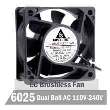 Gdstime Ball 6cm 60mm EC Fan 60mm x 60mm x 25mm EC Brushless Fan 110V 115V 120V 130V 220V 240V Axial Cooling Industry Fan