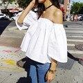 Blusas flojas ocasionales de las mujeres 2016 verano estilo flare manga recortada tops hombro