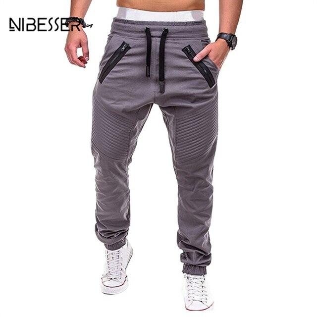 5e518f16e € 13.96 21% de DESCUENTO|NIBESSER rayas plegado Hombre Pantalones 3XL más  tamaño hombres pantalones largos plisados cordón Sweatpants Jogger haz ...