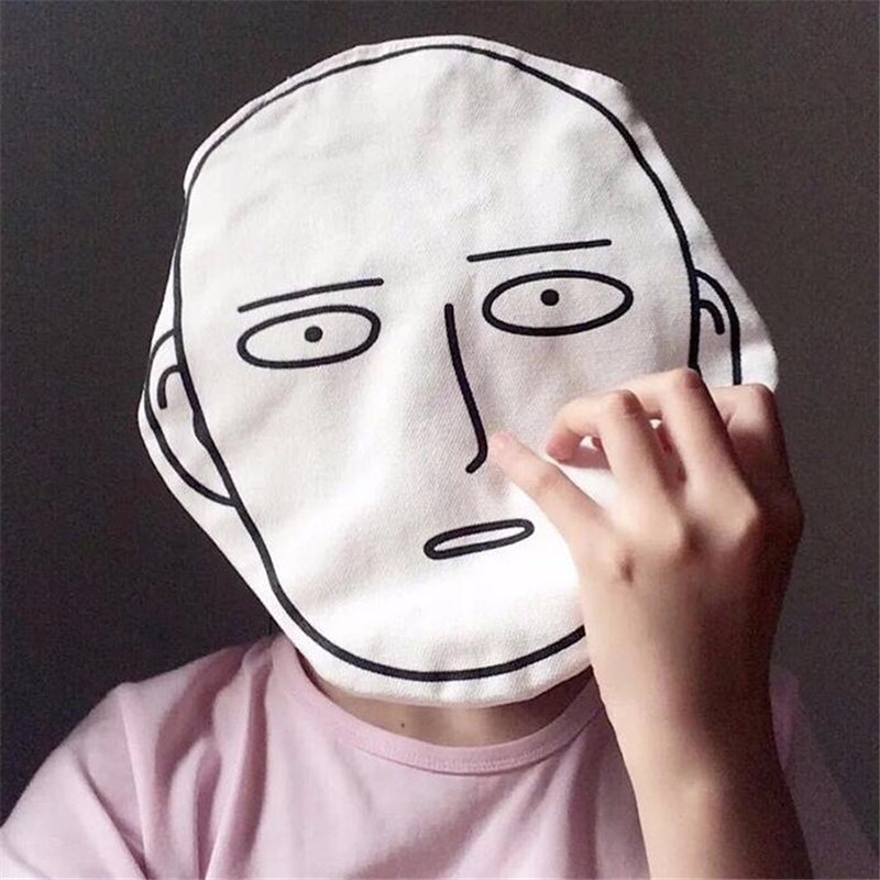 Hot New Japan Anime ONE PUNCH-MAN Saitama Canvas Bag Glazed Expressions Student Haversack Single-shoulder Bag White Funny Gift