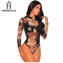 HAMBELELA 2017 Hot Sale Fashion Womens Jumpsuit Printed Flower Long Sleeve Women One Piece Sexy Slim Bodysuit Women Jumpsuits