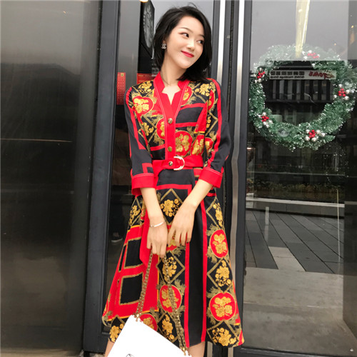Top Quality 2019 New Spring Europe Fashion Designer Famous Brands Ladies Dress Contract Color Red Luxury Women Dresses Vestidos