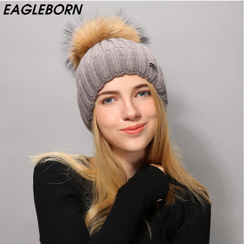 [EB] New Beanies Raccoon fur pom poms ball Keep warm winter hat for women girl 's wool hat knitted beanies cap thick female cap new soft true raccoon fur dismountable mao mao qiu wool cap female winter thickening warm knitting hat