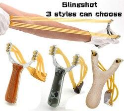 Potente Sling Shot aleación de aluminio y Honda de madera camuflaje arco catapulta al aire libre caza Slingshot caza accesorios GYH