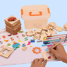 100Pcs Drawing Toys Children Wooden Animal Models Paint Learning Educational Copying Notebook Creative Templates Coloring Boards