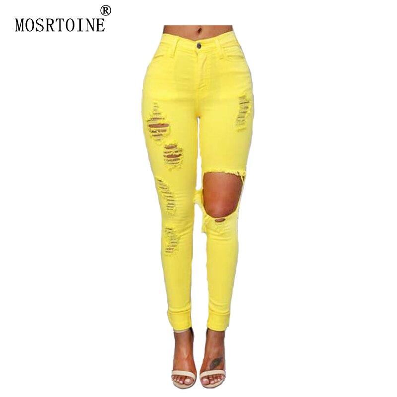 ᓂmosrtoine Women Hole Jeans ๏ 2017 2017 Spring Soft