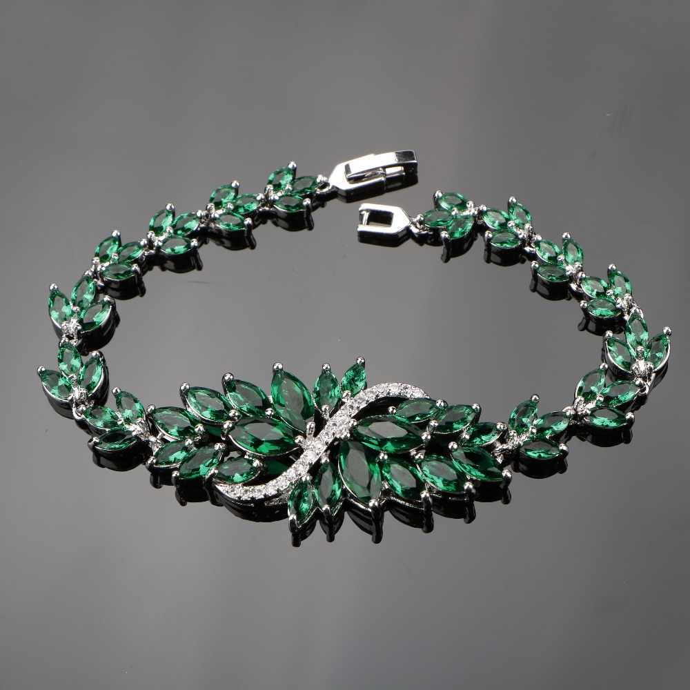 925 Sterling Silver 18CM Ladies Handmade Dark Green Gems Bracelets Sliver 925 Jewelry For Women Free Gift Box