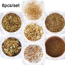 8 Box Mirror Gold Nail Art Glitter Powder Dust Holographic Gold foil Flakes Circle Sequin Manicure Nail Art Decoration JI1506-07