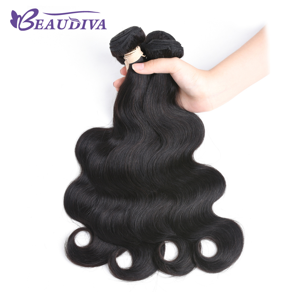 BEAU DIVA Remy Hair Three Piece 8 Inch-26 Inch Indian Body Wave Hair Bundles 1# Color 100% Human Hair Weave Free Shipping