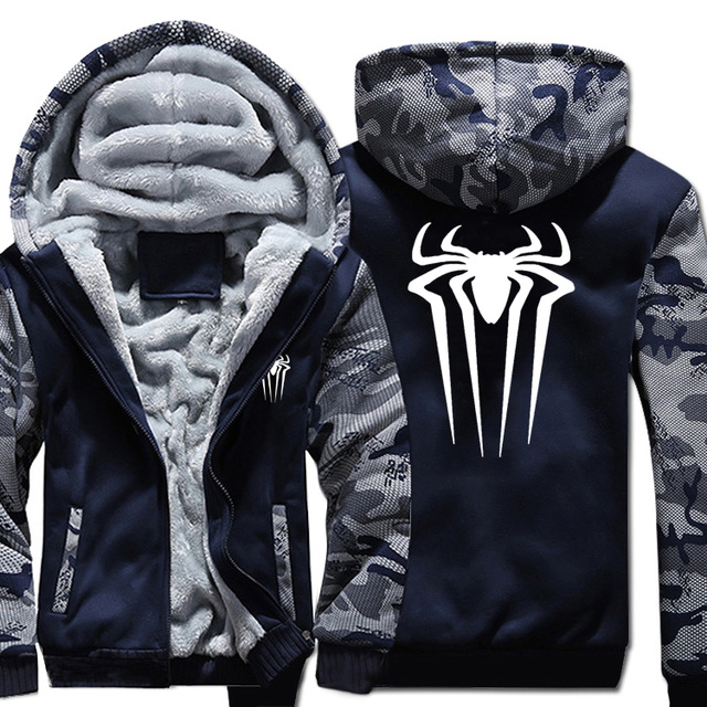 US Size for Mens Coat Spider Design Camouflage Hoodie Warm Thicken Jacket Coat Sweatshirts Casual