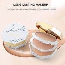 Лучший!  2 цвета для лица макияж контроль масла пудра торт мерцание ярче прессованная пудра палитра контур  Лу