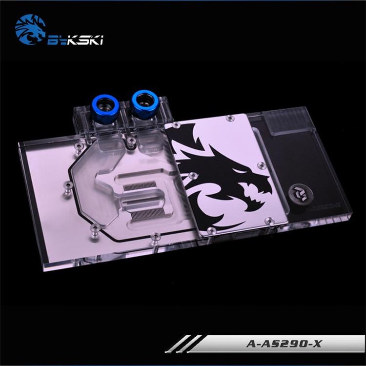 Bykski Pleine Couverture Carte Graphique Bloc utiliser pour ASUS AMD R9-290X-DC2-4GD5/R9-290-DC2-4GD5 Cuivre Radiateur Bloc De L'eau RVB
