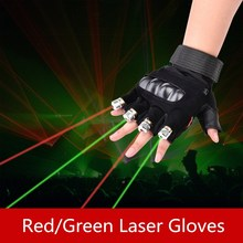 Guantes láser para actuación de baile, luz led roja y verde, accesorios para escenario de Club de DJ/Fiesta, guantes sin dedos, accesorios geniales