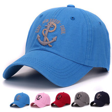 Classic baseball cap 100% sand washed cotton 3D anchor embroidery outdoor soft baseball hat and cap for men and women