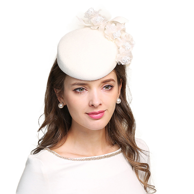 82068190f FS Fascinators For Women Elegant Flowers White Church Hat Wool Felt Pillbox  Cocktail Hats Wedding Lady Fedoras Derby Female Cap-in Fedoras from Apparel  ...