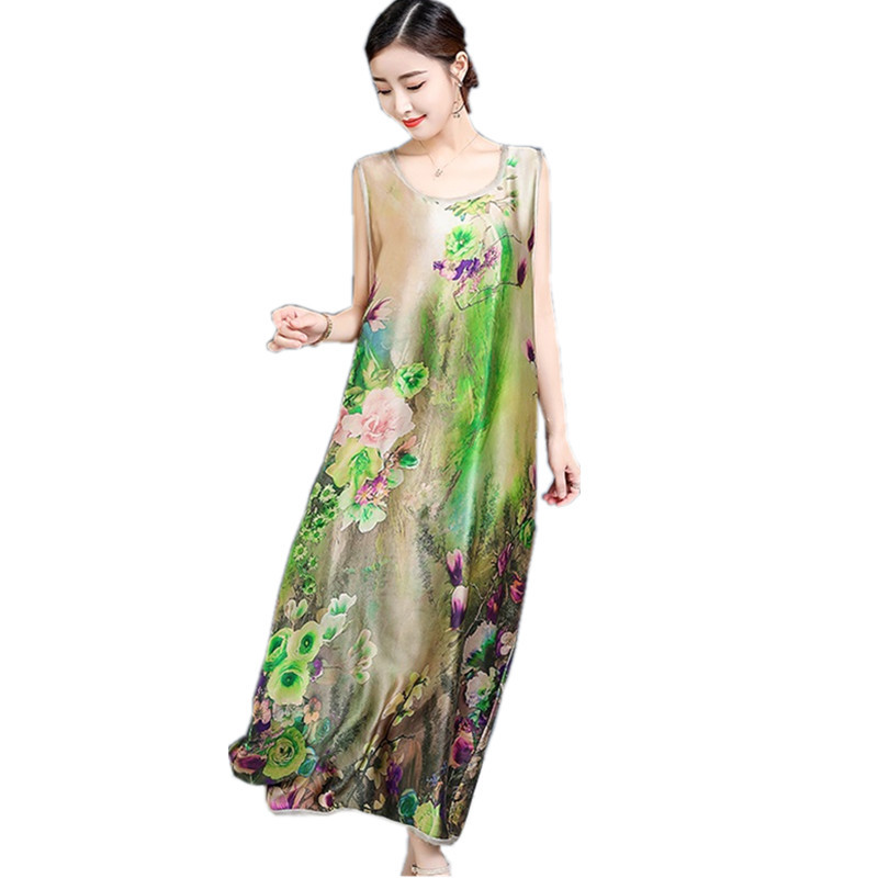 Fashion Casual Vintage Floral Dress Women Long Summer Dress Elegant Silk chiffon Sleeveless Dresses vestidos mujer