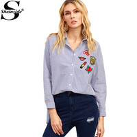 Sheinside Womens Fashion Clothing Embroidered Womens Shirts Blue Vertical Striped High Low Embroidered Blouse