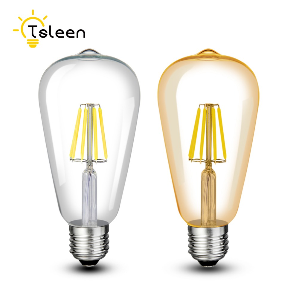 tsleen 110v 220v st64 vintage led lamp e27 retro led filament light bulb 8w 12w 16w glass edison. Black Bedroom Furniture Sets. Home Design Ideas