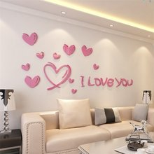 Love is full of Acrylic 3D living room bedroom entrance wall paste creative jewelry home warm sofa