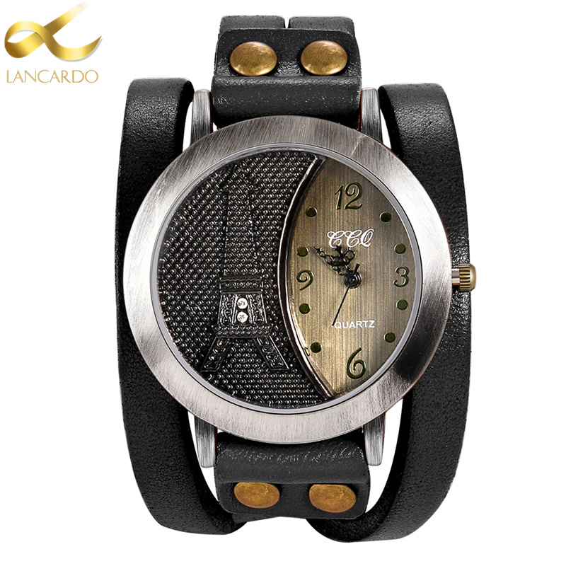 Lancardo Vintage Tower Women & Men Watch High Quality Leather Bracelet Watch Casual WristWatch Punk Style QuartzWatch yves saint laurent full metal shadow жидкие тени для век 14 fur green