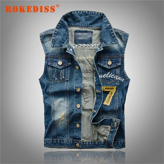 Denim Jeans Vest Men Letter Embroidery Male Jeans Waistcoat Hole Washed Cowboy Jean Denim Vest Sleeveless Plus Size 5XL G265