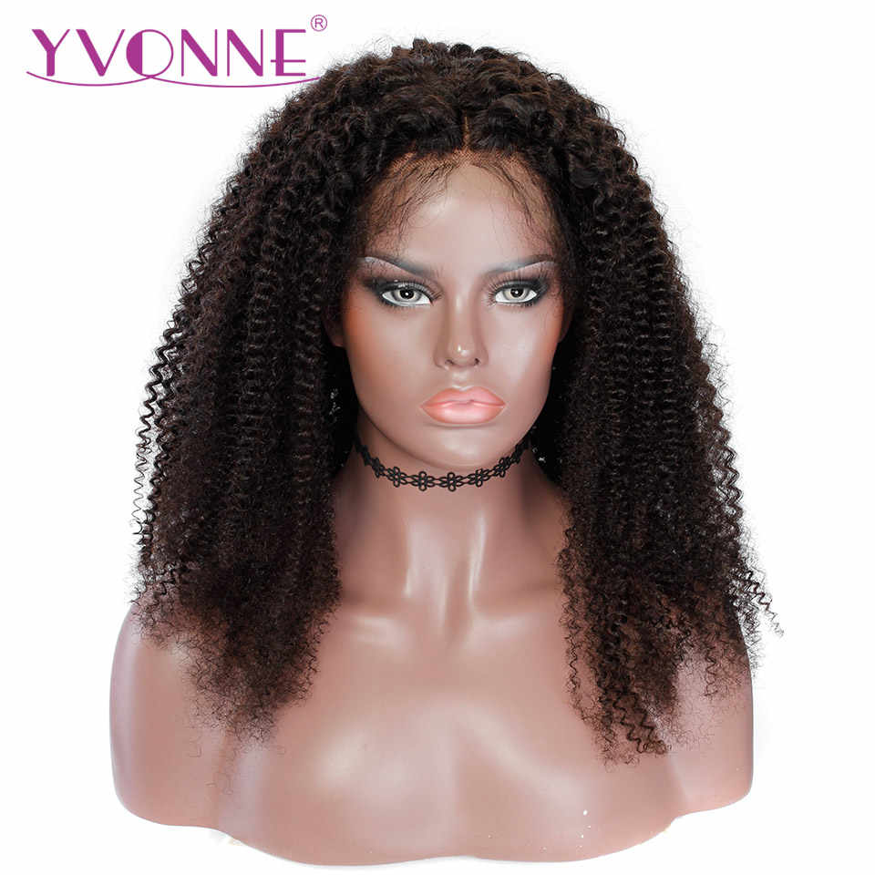 YVONNE Kinky Curly Lace Front Human Hair Wigs For Black Women Brazilian Virgin Hair Wig With Baby Hair Natural Color