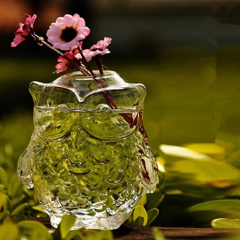 buho de la manera de cristal florero de cristal florero de cristal flor hidropnico rstica decoracin del hogar artesana decor