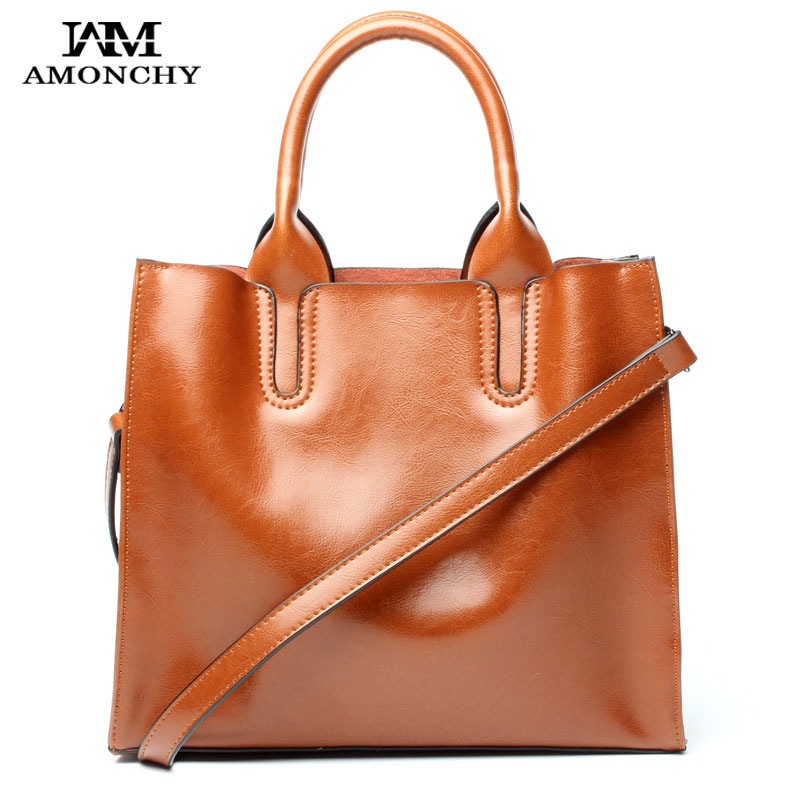 AMONCHY Brand Women Handbags Genuine Leather Bags Female Shoulder Messenger Bags Retro Cowhide Tote Bag 6 Colors Lady Handle Bag  brand women s handbags genuine leather bag ladies women messenger bags shoulder bag female tote alligator bag have ribbons me582