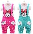 Ropa para niñas establece Mickey Minnie niñas bebé de la manera de la historieta de ocio overol Pantalón y camisa de manga larga T-shirt ropa de Los Cabritos sets