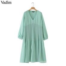 Vadim נשים אמצע עגל שיפון קפלים שמלת V צוואר ארוך שרוול ישר עטוף מקרית סקסי midi שמלות מוצק vestidos QB399