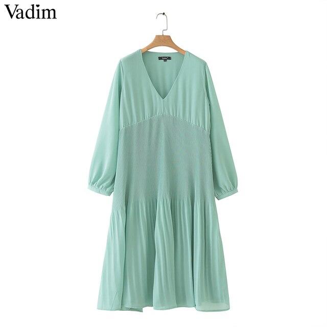 Vadim kobiety do połowy łydki szyfonowa sukienka plisowana V neck z długim rękawem prosto drapowana casual sexy sukienki midi solidna vestidos QB399