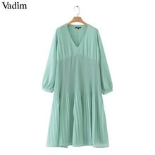 Vadim 여성 중반 송아지 쉬폰 주름 드레스 v 목 긴 소매 스트레이트 draped 캐주얼 섹시한 미디 드레스 솔리드 vestidos qb399